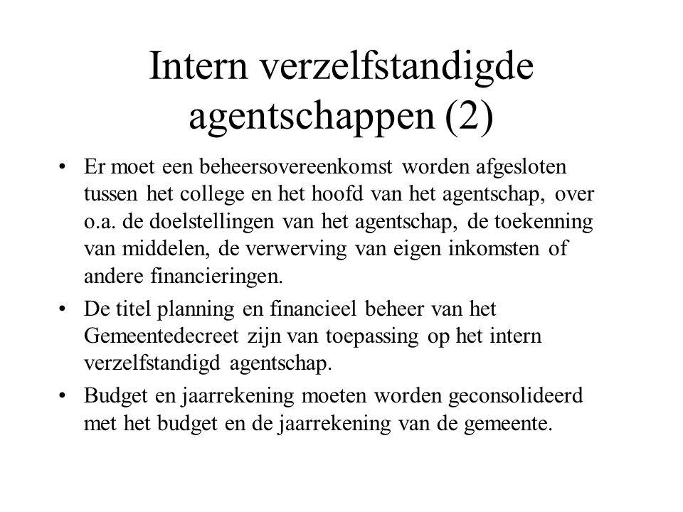 Intern verzelfstandigde agentschappen (2)