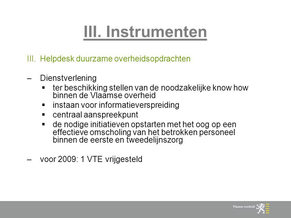 III. Instrumenten Helpdesk duurzame overheidsopdrachten