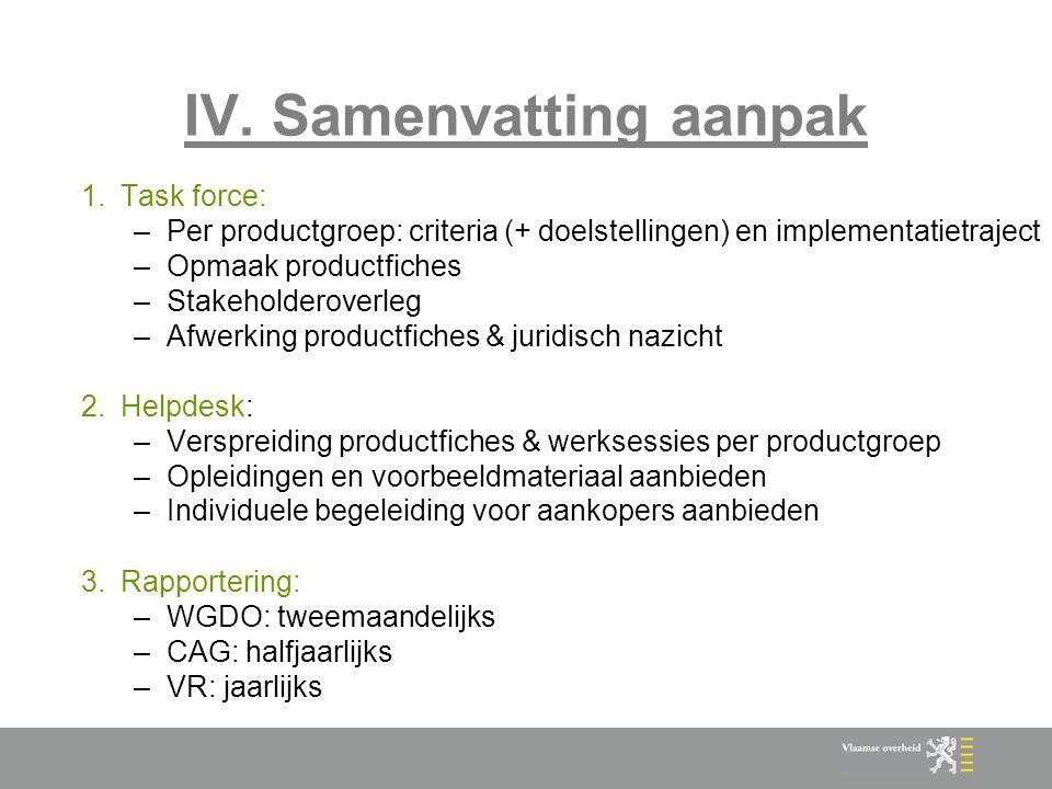 IV. Samenvatting aanpak