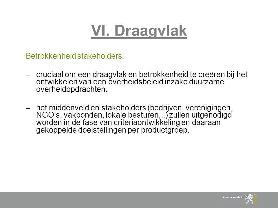 VI. Draagvlak Betrokkenheid stakeholders: