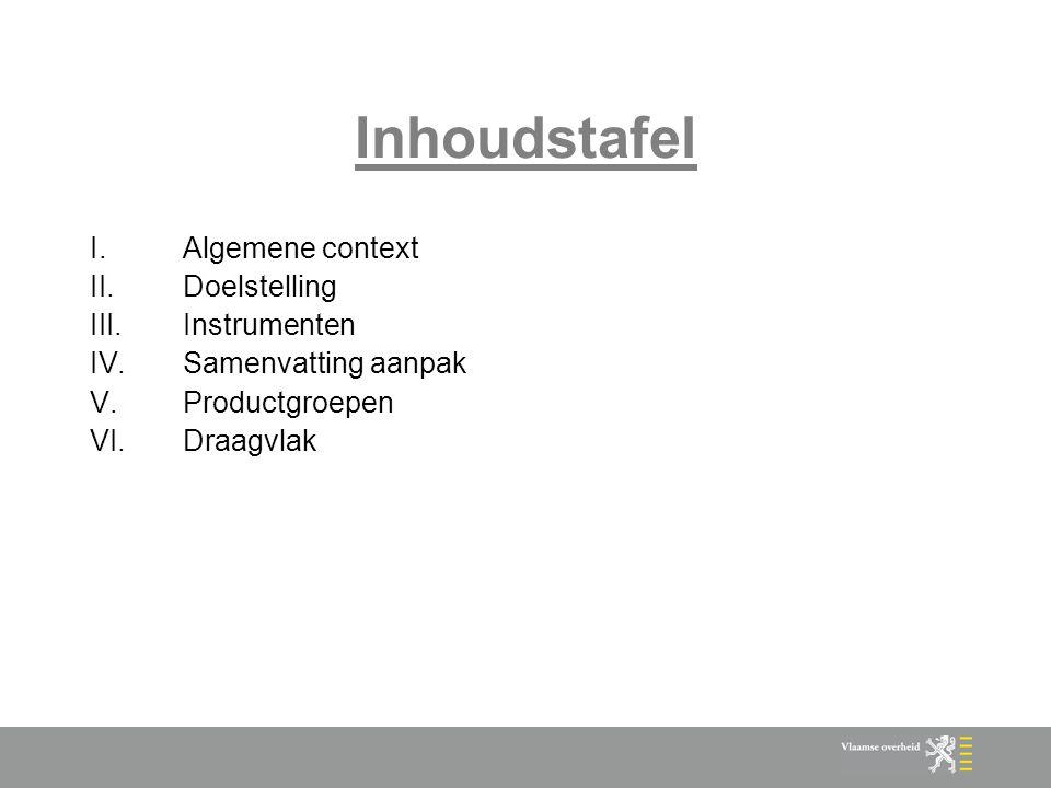 Inhoudstafel Algemene context Doelstelling Instrumenten