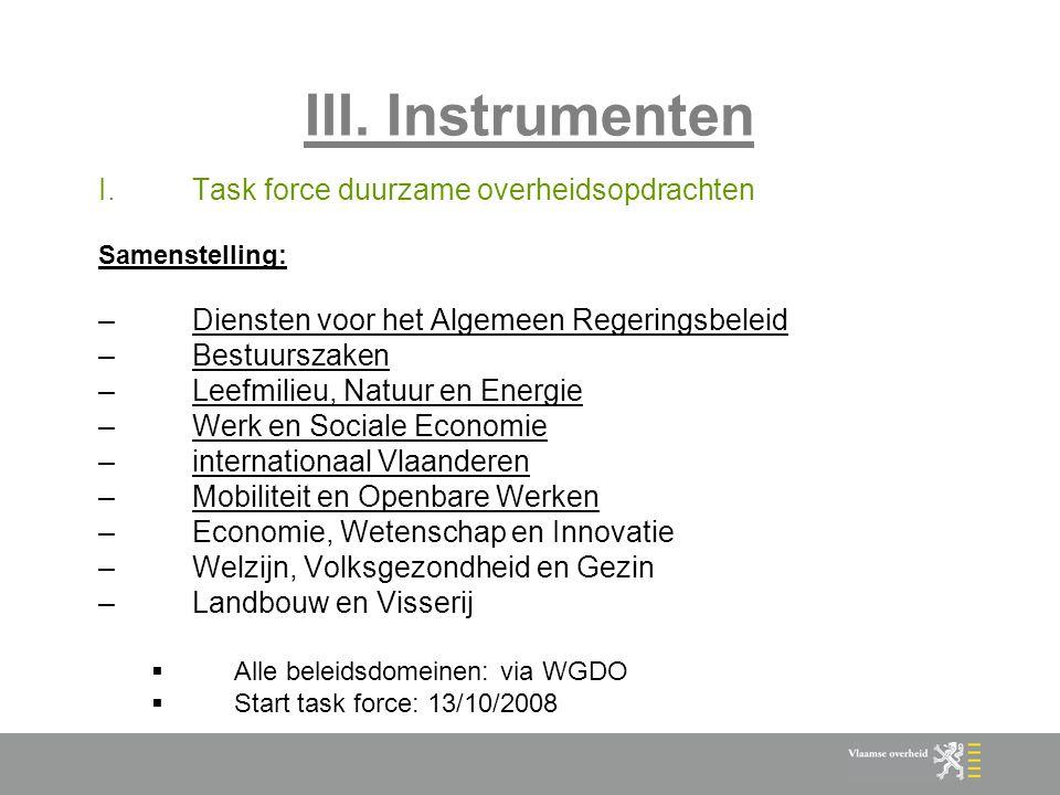 III. Instrumenten Task force duurzame overheidsopdrachten