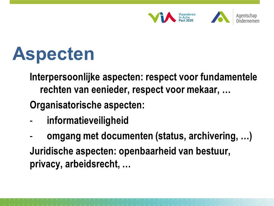 Aspecten Interpersoonlijke aspecten: respect voor fundamentele rechten van eenieder, respect voor mekaar, …