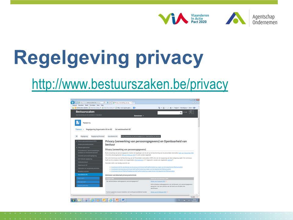 Regelgeving privacy http://www.bestuurszaken.be/privacy