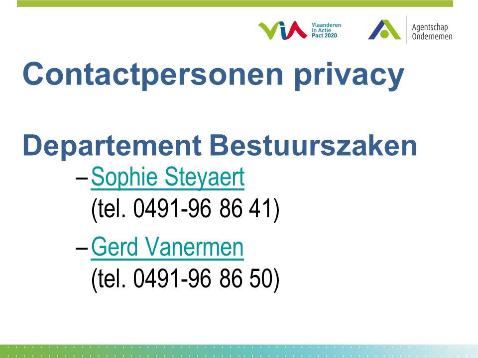 Contactpersonen privacy Departement Bestuurszaken