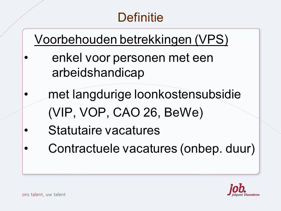 Definitie Voorbehouden betrekkingen (VPS) enkel voor personen met een arbeidshandicap. met langdurige loonkostensubsidie.
