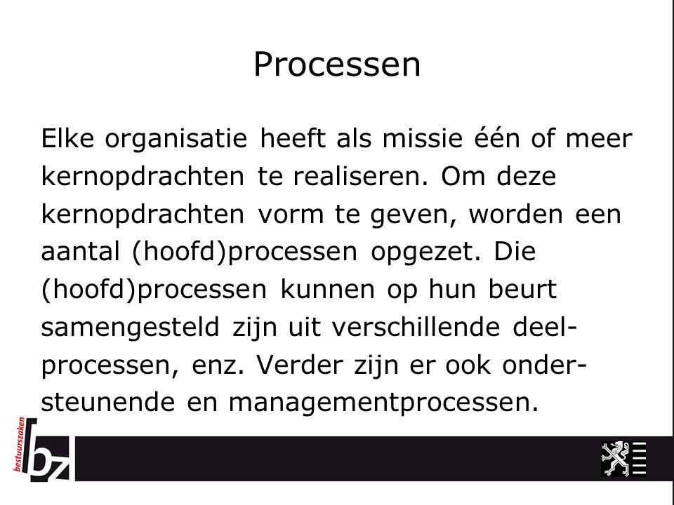 Processen Elke organisatie heeft als missie één of meer