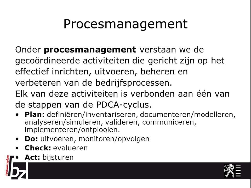 Procesmanagement Onder procesmanagement verstaan we de