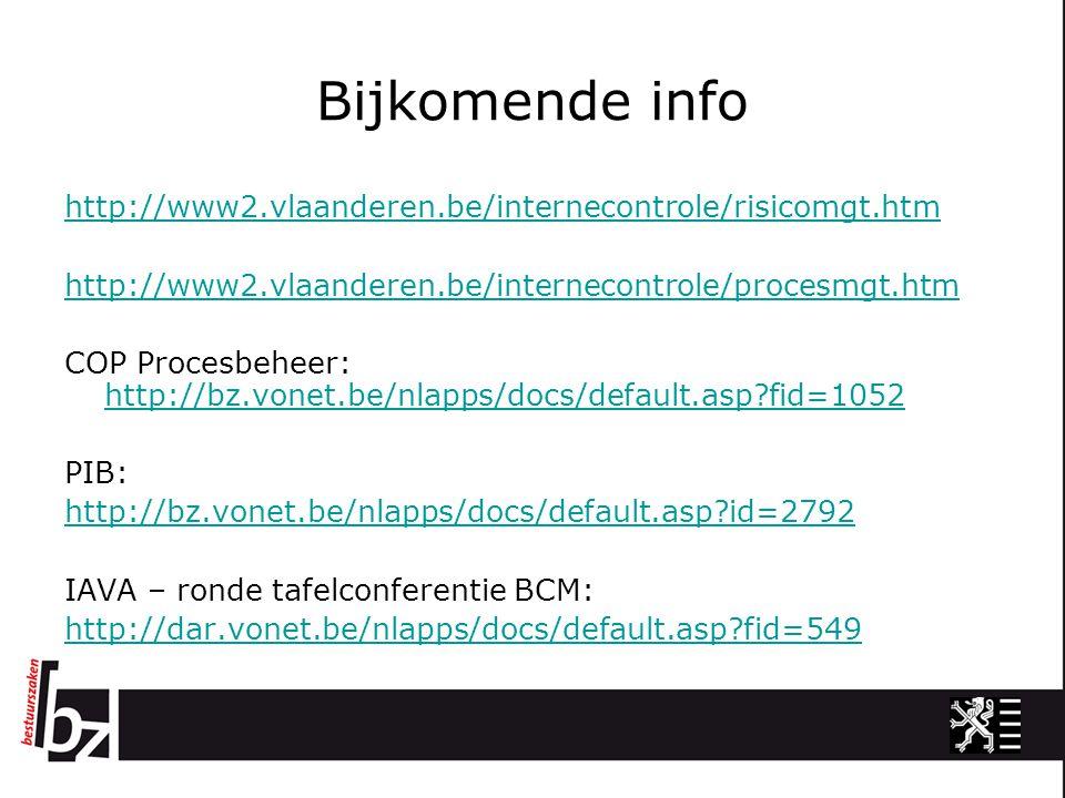 Bijkomende info http://www2.vlaanderen.be/internecontrole/risicomgt.htm. http://www2.vlaanderen.be/internecontrole/procesmgt.htm.