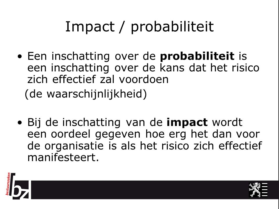 Impact / probabiliteit