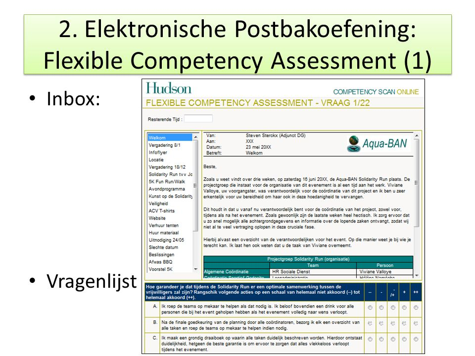 2. Elektronische Postbakoefening: Flexible Competency Assessment (1)