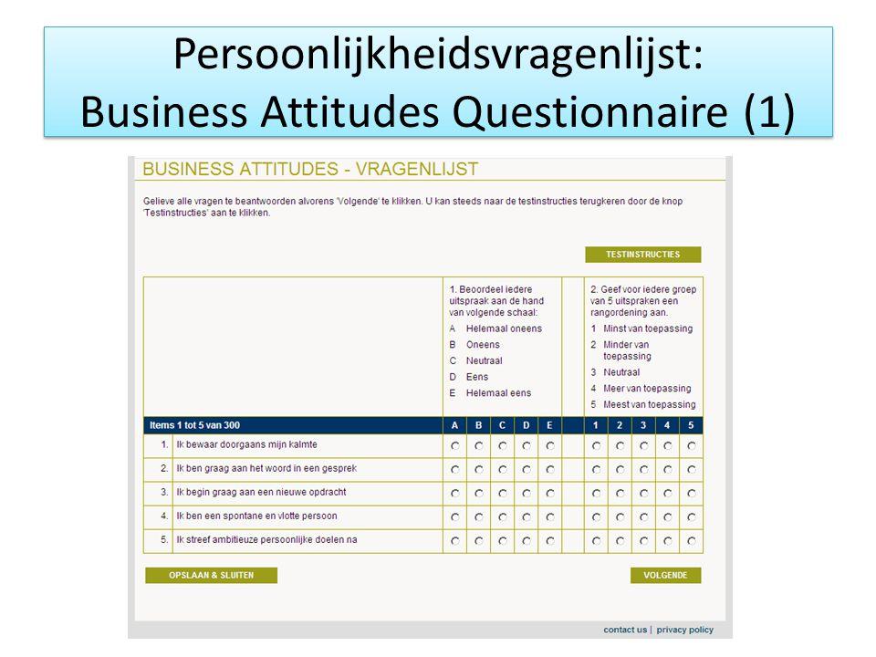 Persoonlijkheidsvragenlijst: Business Attitudes Questionnaire (1)