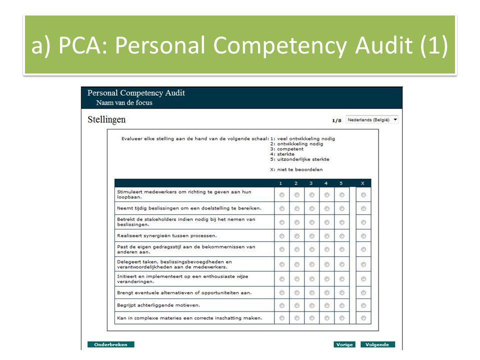 a) PCA: Personal Competency Audit (1)