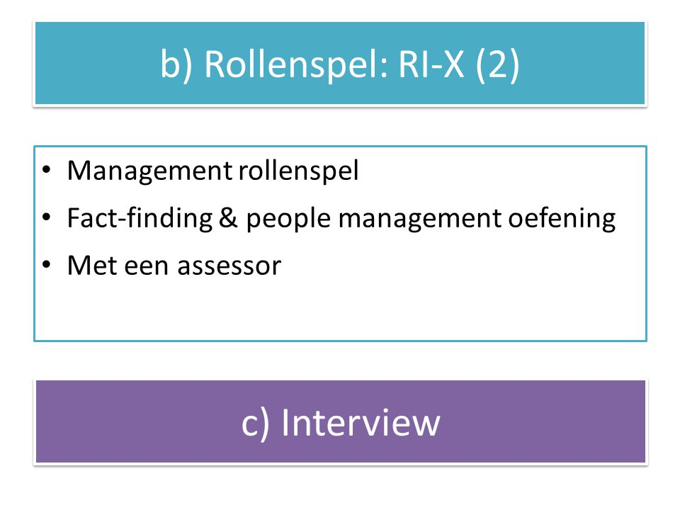 b) Rollenspel: RI-X (2) c) Interview Management rollenspel