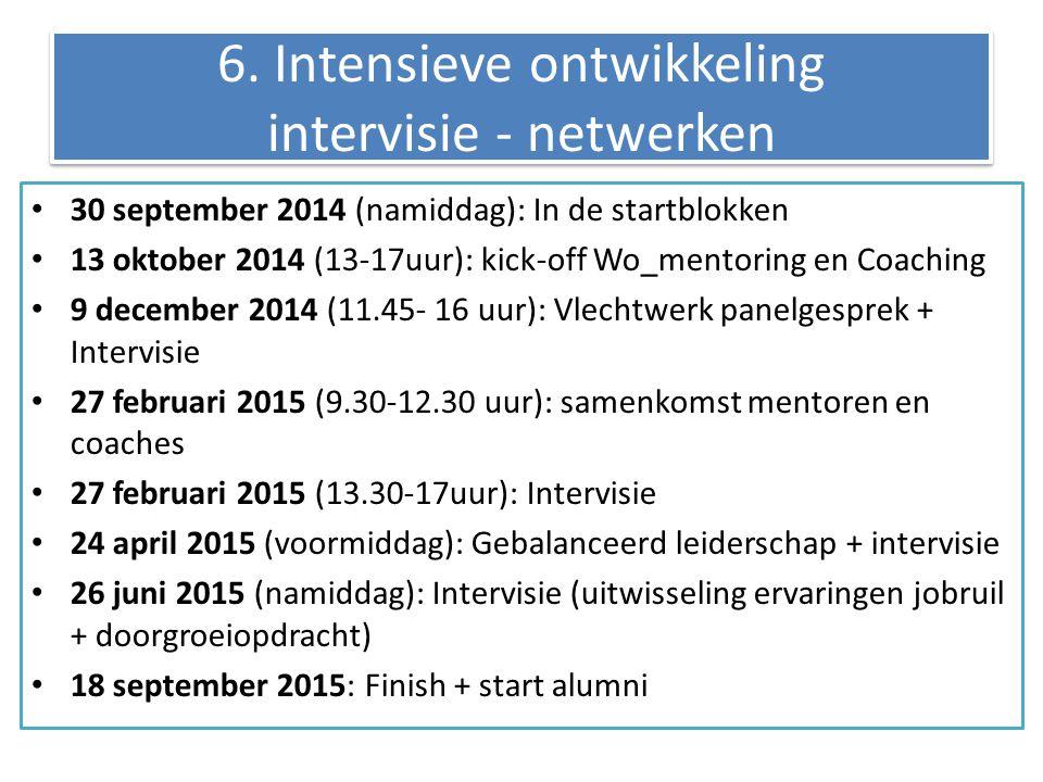 6. Intensieve ontwikkeling intervisie - netwerken