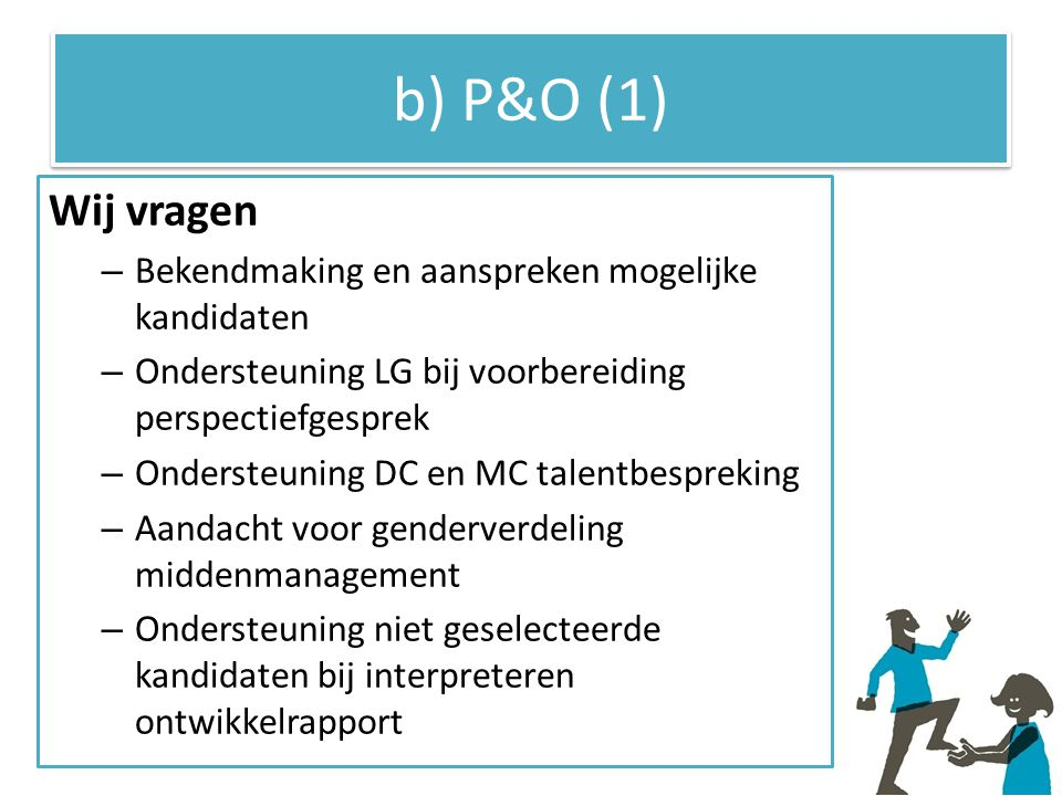 b) P&O (1) Wij vragen Bekendmaking en aanspreken mogelijke kandidaten