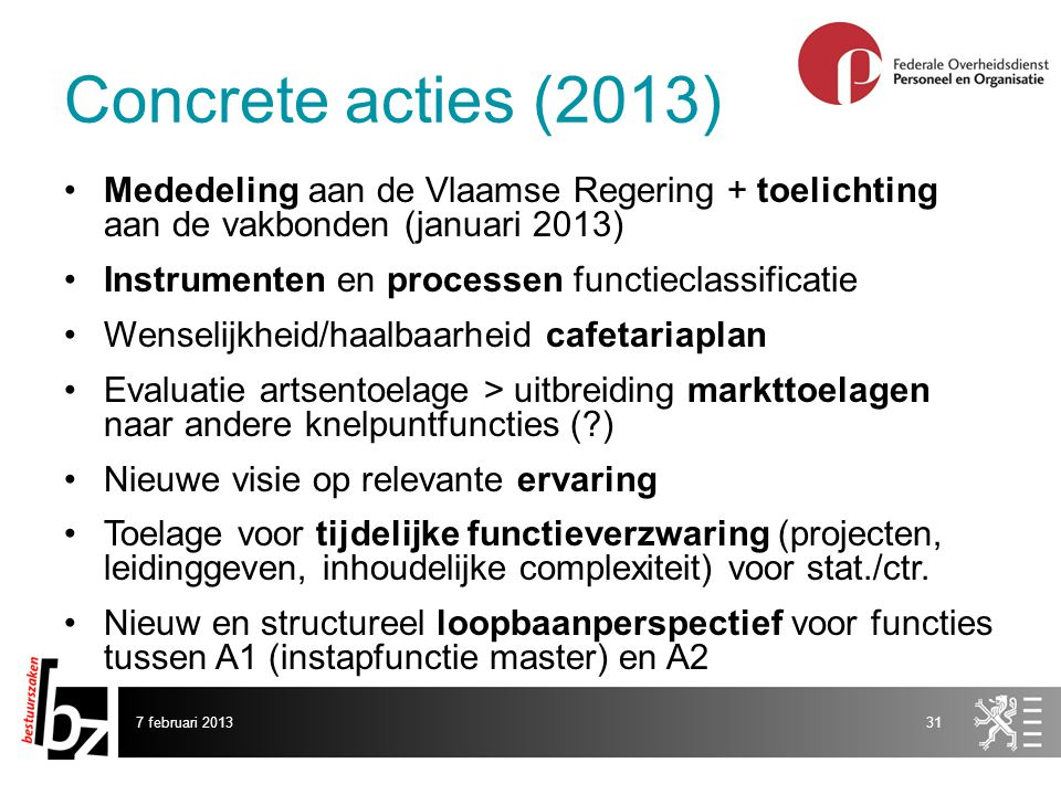 Concrete acties (2013) Mededeling aan de Vlaamse Regering + toelichting aan de vakbonden (januari 2013)