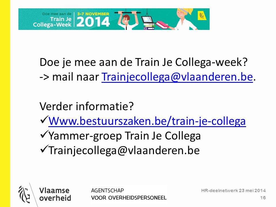 Doe je mee aan de Train Je Collega-week
