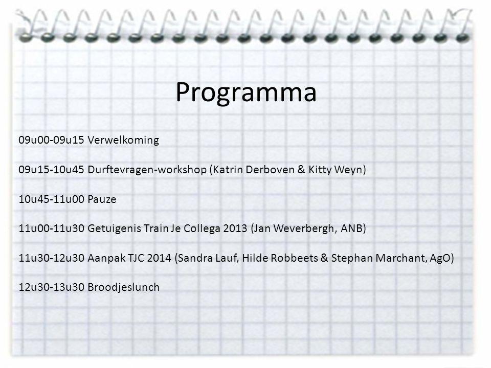 Programma 09u00-09u15 Verwelkoming