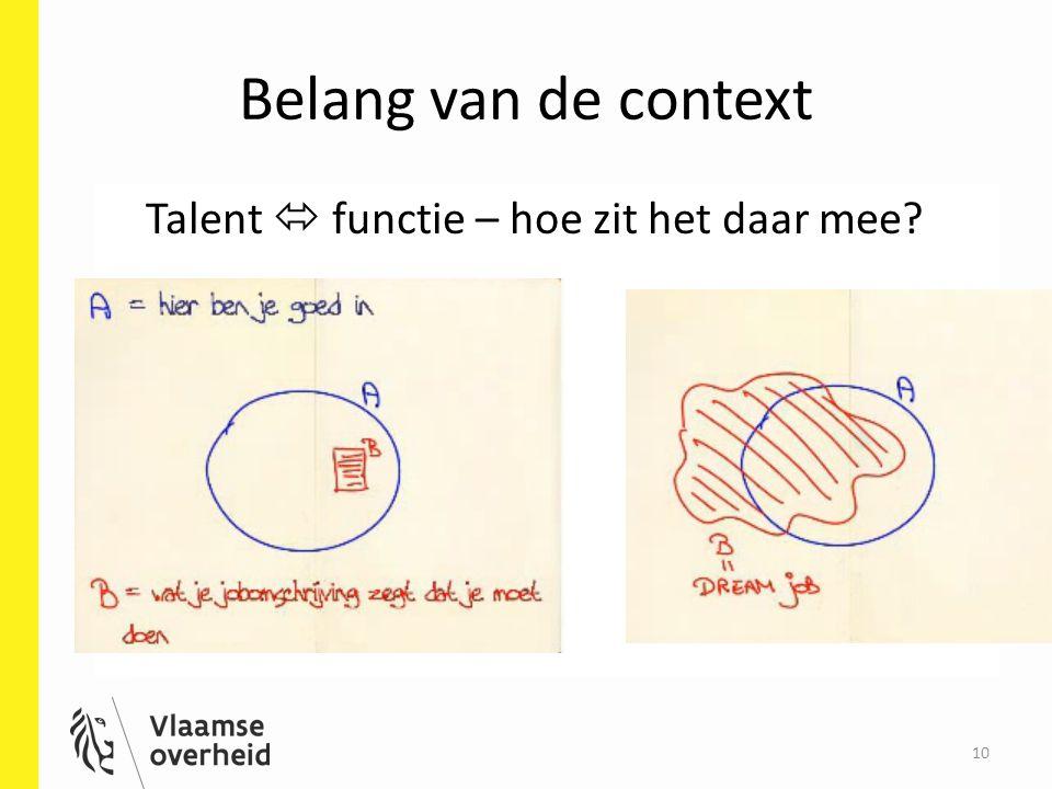 Belang van de context Talent  functie – hoe zit het daar mee