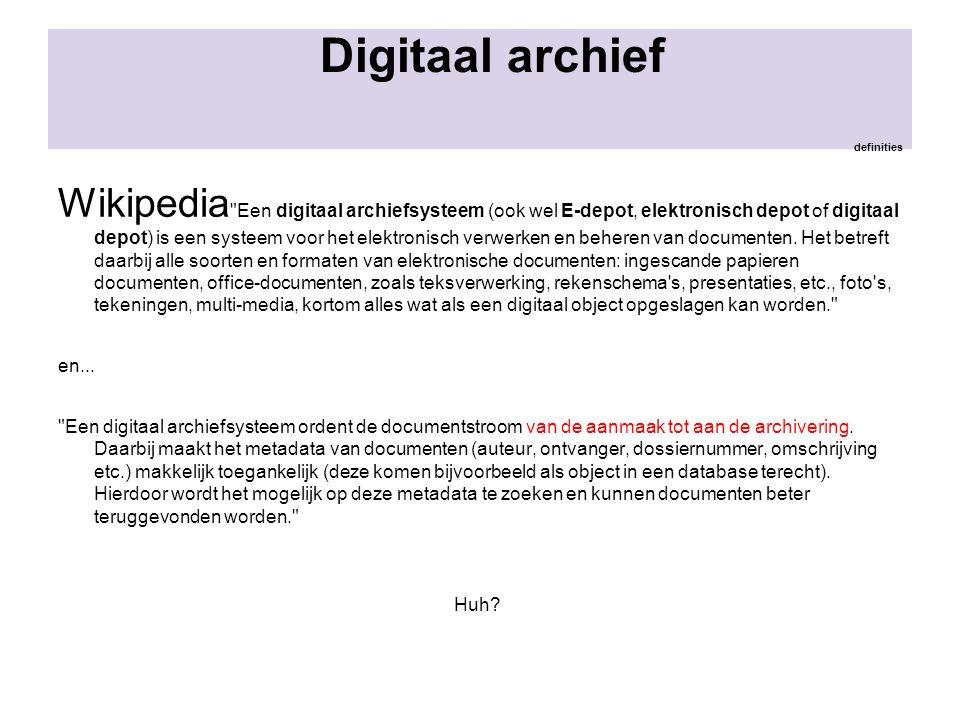 Digitaal archief definities