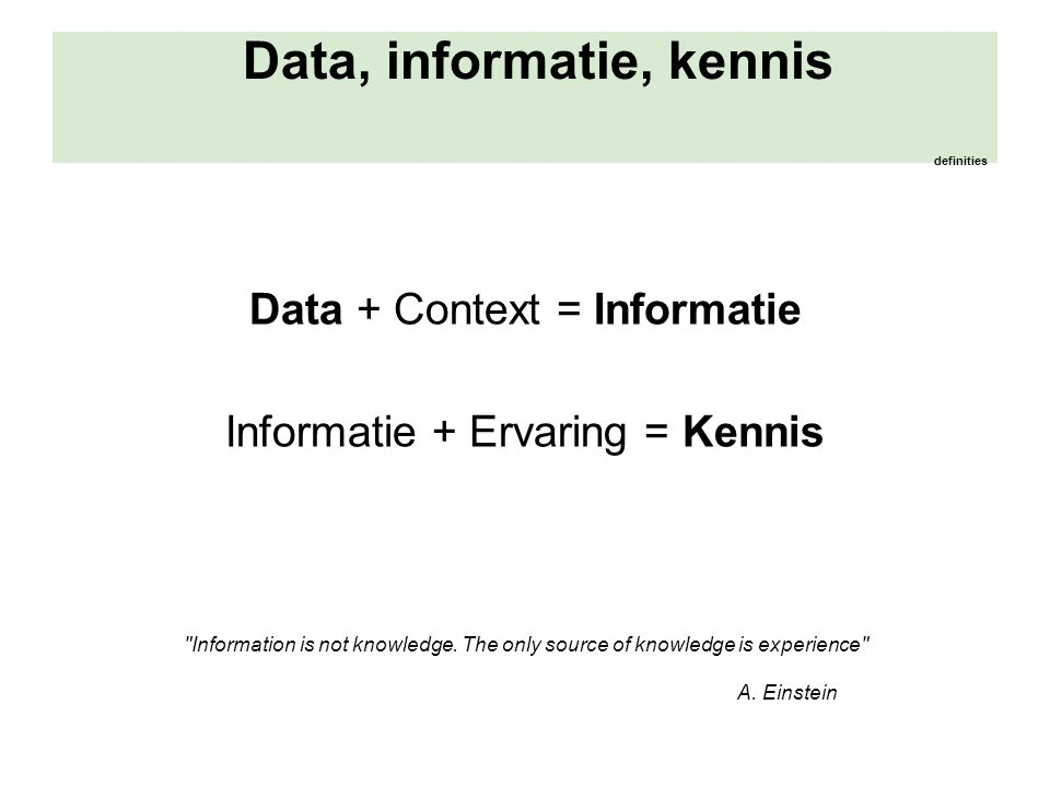 Data, informatie, kennis definities