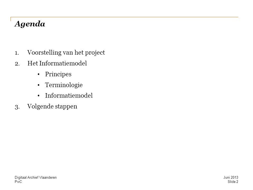 Agenda Voorstelling van het project Het Informatiemodel Principes