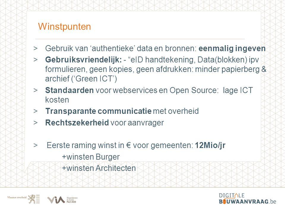 Winstpunten Gebruik van 'authentieke' data en bronnen: eenmalig ingeven.