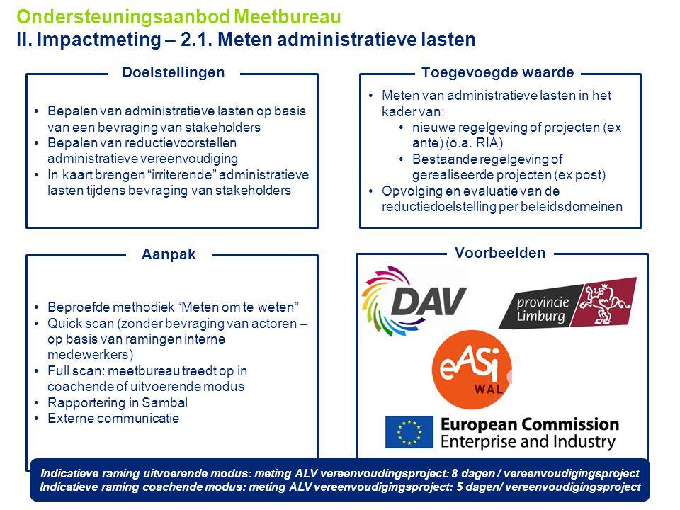 Ondersteuningsaanbod Meetbureau II. Impactmeting – 2. 1