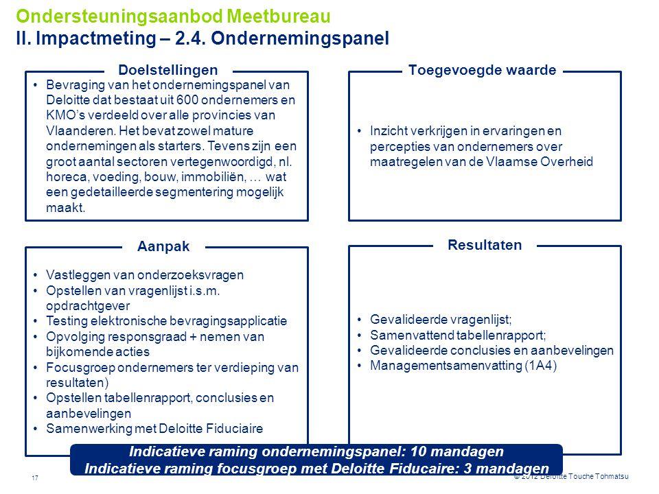 Ondersteuningsaanbod Meetbureau II. Impactmeting – 2. 4