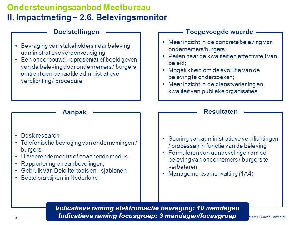 Ondersteuningsaanbod Meetbureau II. Impactmeting – 2. 6