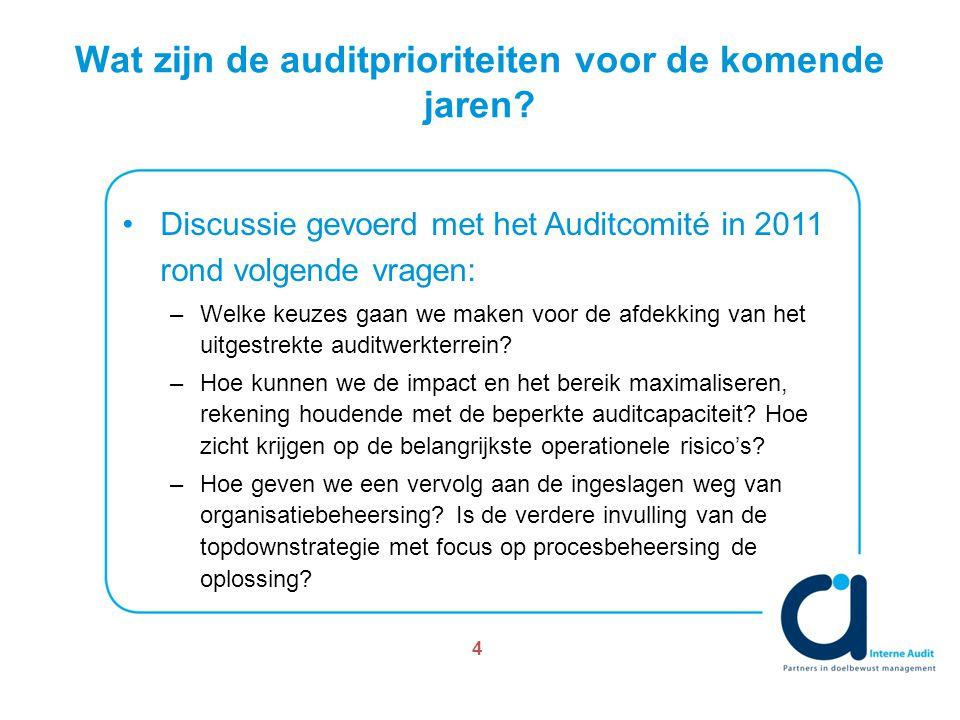 Wat zijn de auditprioriteiten voor de komende jaren