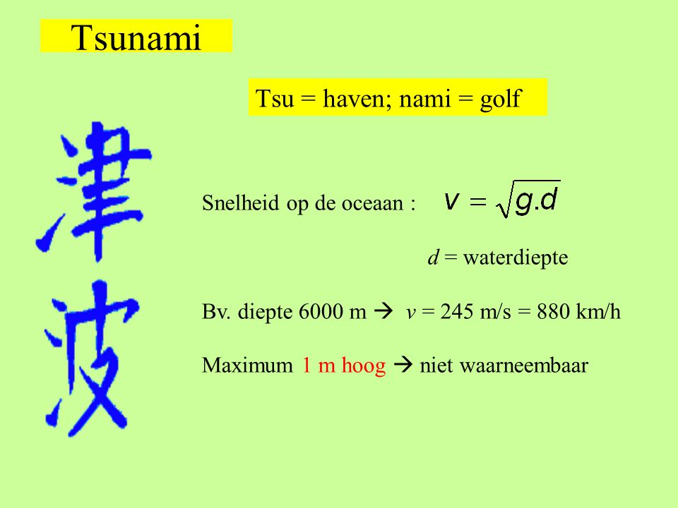 Tsunami Tsu = haven; nami = golf Snelheid op de oceaan :