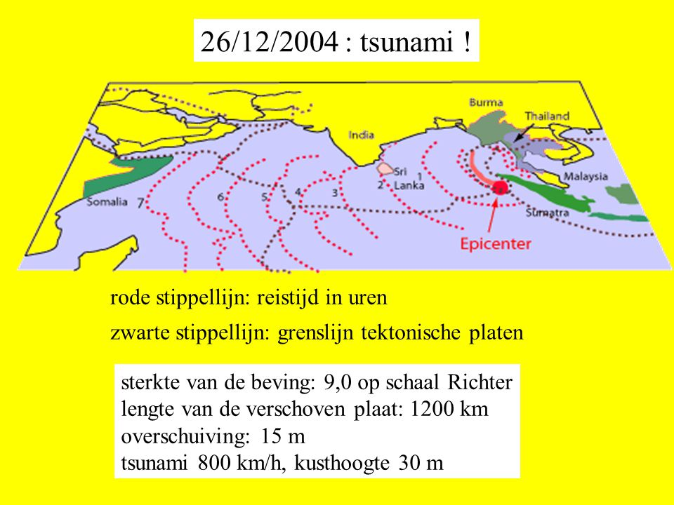 26/12/2004 : tsunami ! rode stippellijn: reistijd in uren