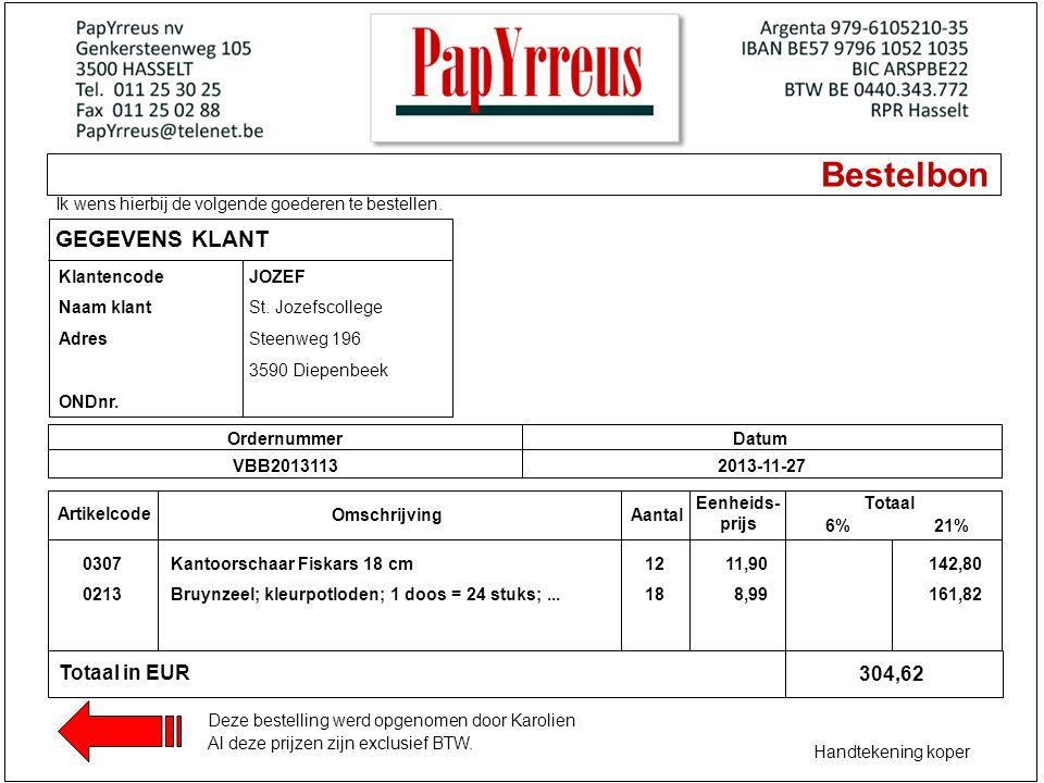 Bestelbon GEGEVENS KLANT Totaal in EUR 304,62