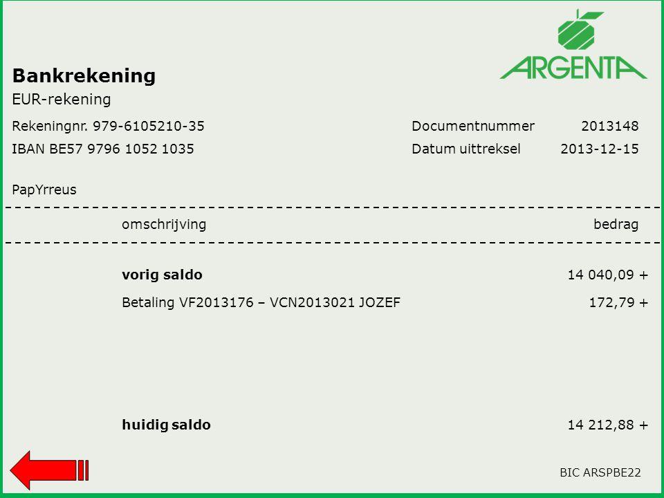 Bankrekening EUR-rekening Rekeningnr. 979-6105210-35