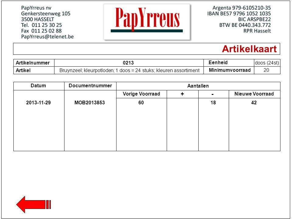 Artikelkaart - + Artikelnummer 0213 Eenheid doos (24st) Artikel