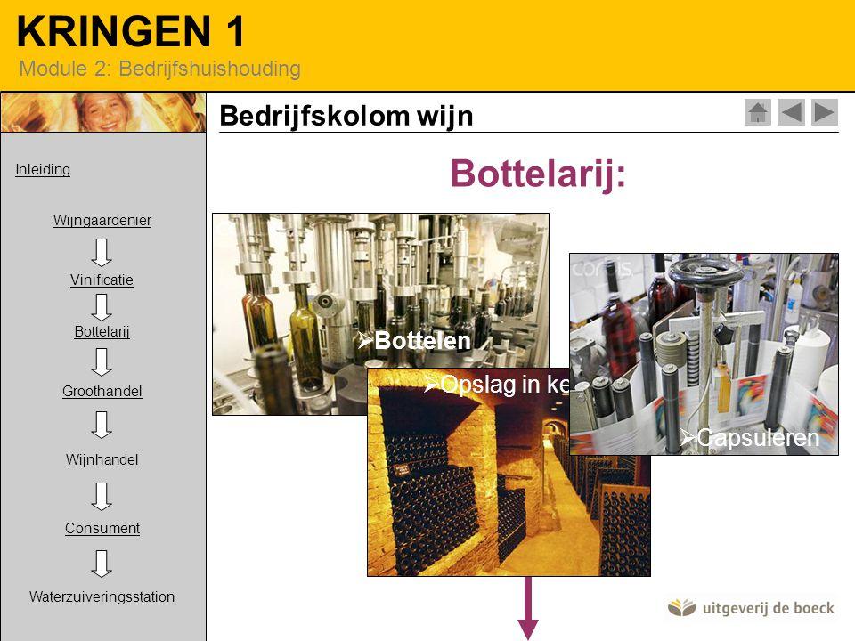 Bottelarij: Bedrijfskolom wijn Bottelen Opslag in kelder Capsuleren