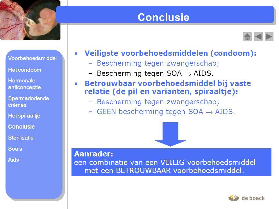 Conclusie Veiligste voorbehoedsmiddelen (condoom):