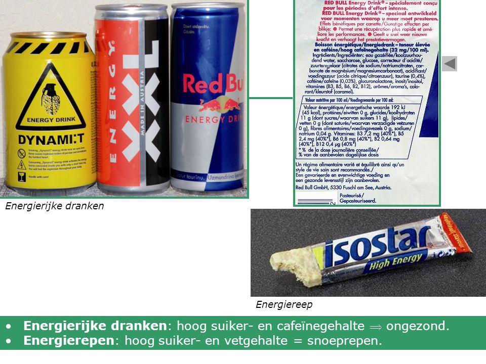Energierijke dranken: hoog suiker- en cafeïnegehalte  ongezond.