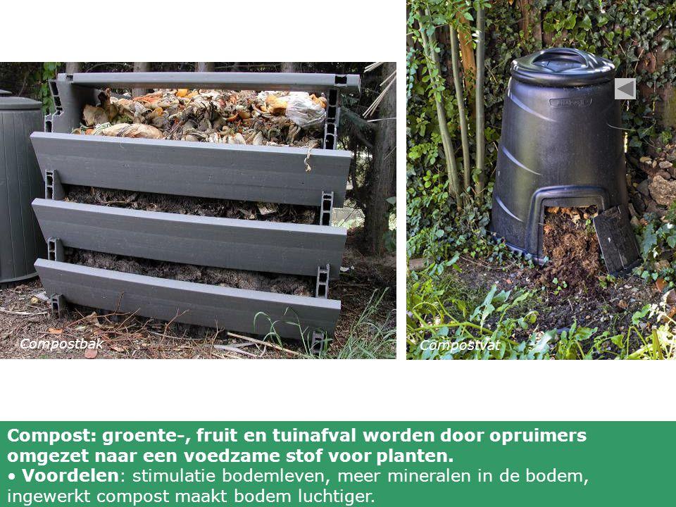 Compostbak Compostvat. Compost: groente-, fruit en tuinafval worden door opruimers omgezet naar een voedzame stof voor planten.