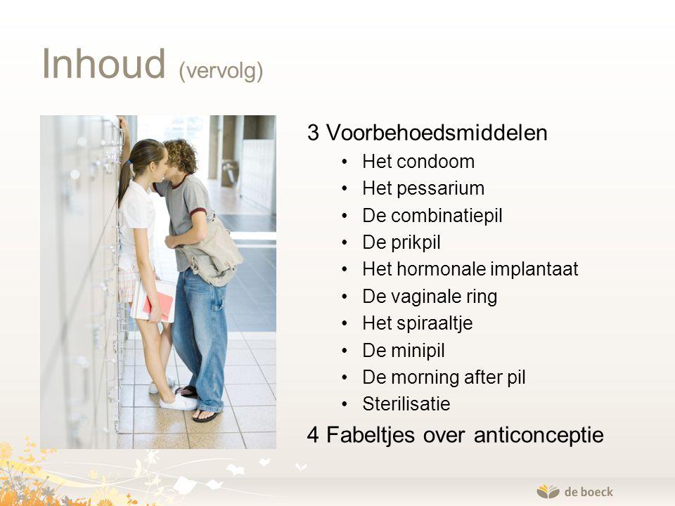 Inhoud (vervolg) 3 Voorbehoedsmiddelen 4 Fabeltjes over anticonceptie
