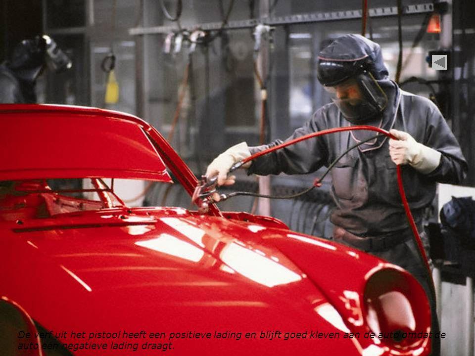 De verf uit het pistool heeft een positieve lading en blijft goed kleven aan de auto omdat de auto een negatieve lading draagt.