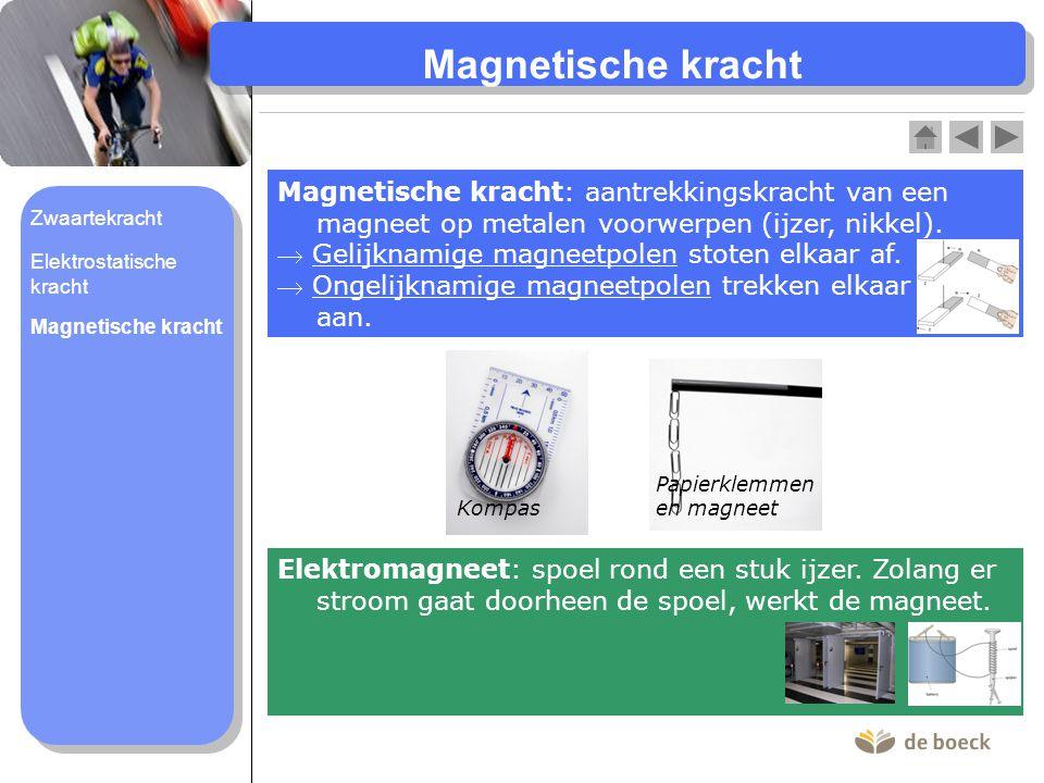 Magnetische kracht Magnetische kracht: aantrekkingskracht van een magneet op metalen voorwerpen (ijzer, nikkel).