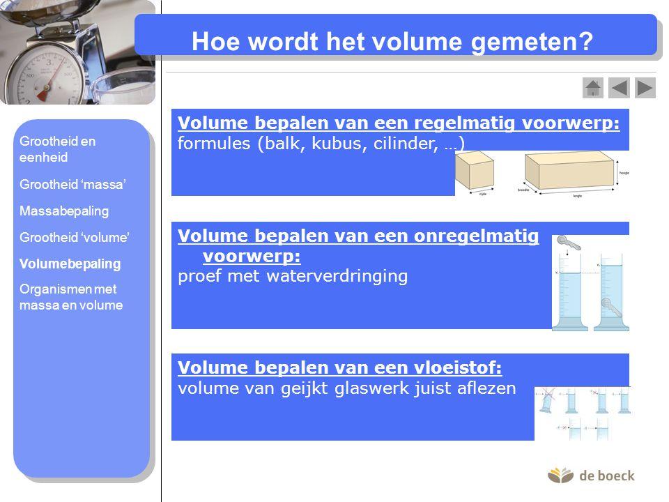 Hoe wordt het volume gemeten