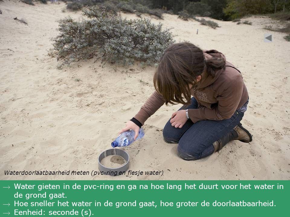 Waterdoorlaatbaarheid meten (pvc-ring en flesje water)
