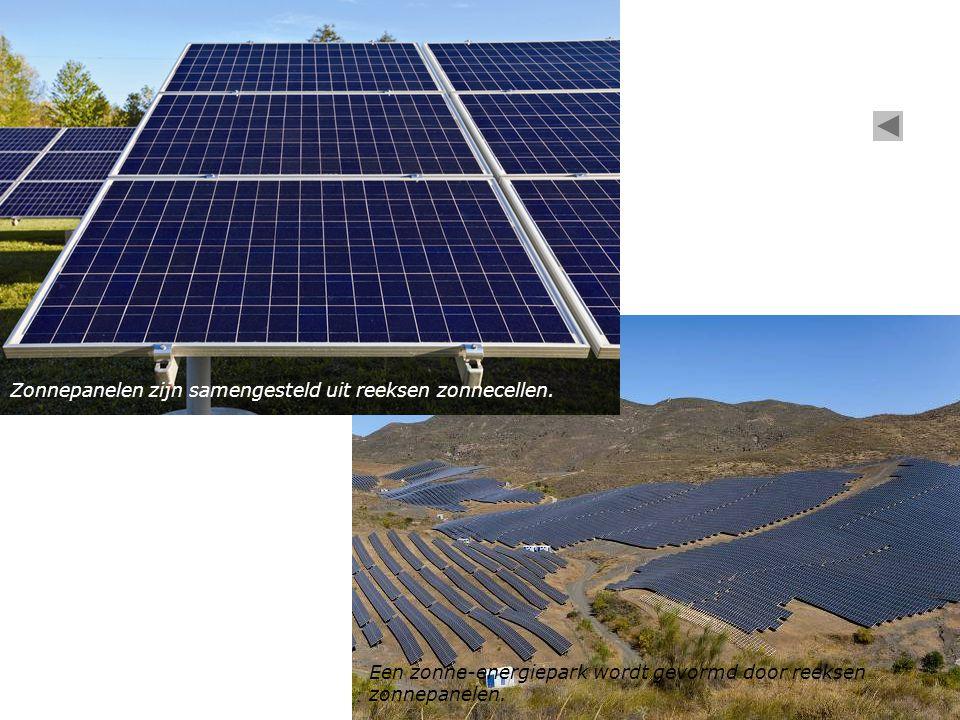 Zonnepanelen zijn samengesteld uit reeksen zonnecellen.