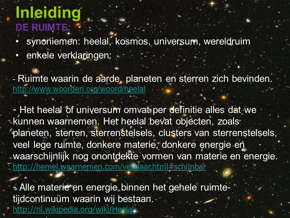 Inleiding DE RUIMTE: synoniemen: heelal, kosmos, universum, wereldruim