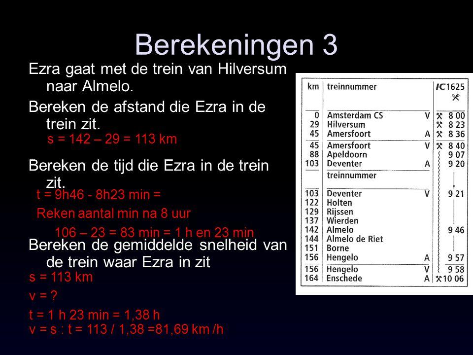 Berekeningen 3 Ezra gaat met de trein van Hilversum naar Almelo.