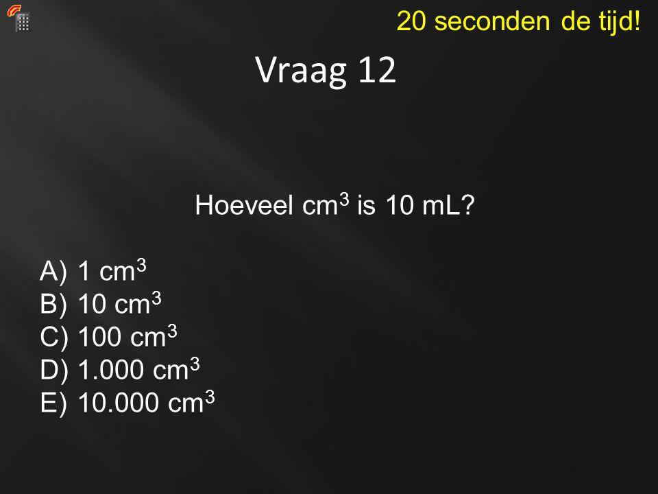 Vraag 12 20 seconden de tijd! Hoeveel cm3 is 10 mL 1 cm3 10 cm3